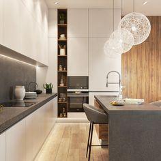 Big kitchen Big kitchen on Behance Open Plan Kitchen Living Room, Kitchen Room Design, Luxury Kitchen Design, Big Kitchen, Luxury Kitchens, Home Decor Kitchen, Interior Design Kitchen, Home Kitchens, Kitchen Modern