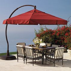 From dawn to dusk, the 11' Side-mount Umbrella blocks the sun's glare as it moves across the sky, virtually shading you from all angles of the sun. This resort-quality, cantilever umbrella easily tilts and pivots 360° around the base, requiring no maintenance.