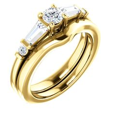 14k yellow gold round diamond engagement ring and matching wedding band set   Order this from Bauble Patch Jewelers today!  http://baublepatch.jewelershowcase.com/browse/wedding-and-engagement/  or call (616)785-1100