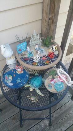 Succulent Pots, Succulents Garden, Mini Fairy Garden, Fairies Garden, Outdoor Plants, Outdoor Decor, Miniature Fairy Gardens, Fairy Land, Beach Scenes