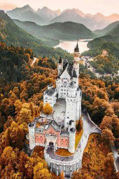 Neuschwanstein Castle- a 19th-century Romanesque Revival palace