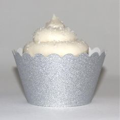 Silver Glitter Cupcake Wrappers - Pack of 12