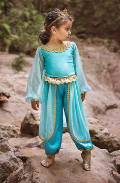 Princess Jasmine Inspired Girl's Costume Blue Genie