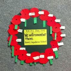 Anzac Day craft with my new entrant class. Easy to make poppies, from circles. Early Learning Activities, Art Activities For Kids, Art For Kids, Crafts For Kids, Craft Kids, Anzac Day For Kids, Anzac Poppy, Australia Crafts, Poppy Wreath