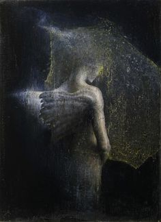 Pneuma. 2012 oil and gold on paper on wood  ~ by Agostino Arrivabene (b1967, Italy).