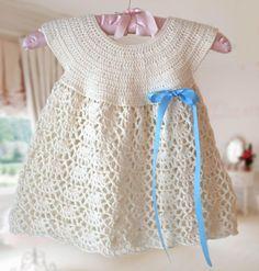 White Baby Dress Baby Dress round neck Crochet by CrochetMonkie