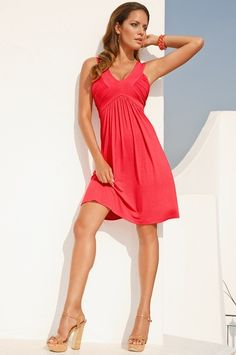 v-neck coral dress - Boston Proper