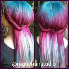 Burgundy blue ombre dyed hair