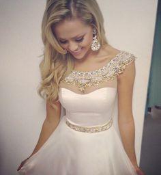 New Lovely Cap Sleeve Boat Neckline White Short Homecoming Dresses 2015 With Beadings Short Prom Dresses