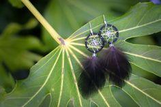 Black Dream Catcher Earrings by nZuriArtDesigns on Etsy