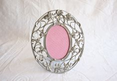 Pewter Picture Frame, 3 1/2 x 5 Frame, Seagull Oval Floral Photo Frame