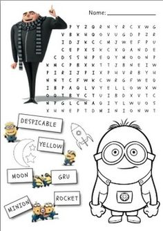 Despicable me minions wordsearch and colouring worksheet More