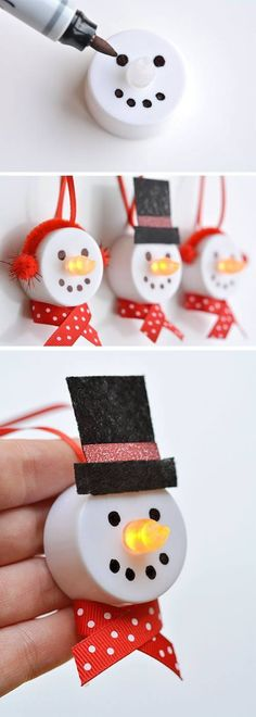 Tea Light Snowman Ornaments – 100 Days of Homemade Holiday I.- Tea Light Snowman Ornaments – 100 Days of Homemade Holiday Inspriation Tea Light Snowman Ornaments – 100 Days of Homemade Holiday Inspriation - Noel Christmas, Winter Christmas, Simple Christmas Crafts, Christmas Decorations Diy Crafts, Christmas Crafts To Sell Make Money, Handmade Decorations, Christmas Makes To Sell, Kids Winter Crafts, Kids Holiday Crafts
