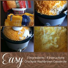 Easy 3-Ingredient Crockpot Hashbrown Casserole