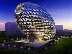 """The latest future forward design from this firm is the Cybertecture Egg, commissioned by Vijay Associate (Wadhwa Developers) for Mumbai, India. The 32,000 sq m egg-shaped building will combine """"iconic architecture, environmental design, intelligent systems, and new engineering to create an awe-inspiring landmark in the city."""""""