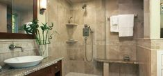 This simple yet very luxurious natural stone bathroom comes with granite stone, and has a very clean and cosy look.