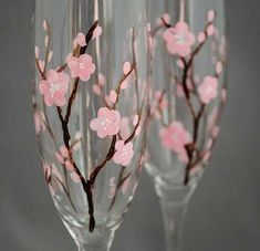 See more about cherry blossom wedding, cherry blossoms and wedding flutes. Cherry Blossom Party, Cherry Blossom Painting, Cherry Blossoms, Wine And Canvas, Wedding Flutes, Japanese Wedding, Hand Painted Wine Glasses, Wine Bottle Crafts, Glass Art
