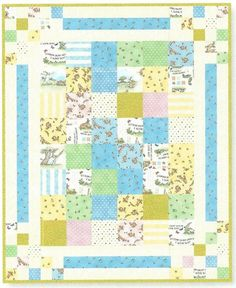 "Sweet Baby Quilt - a combo of ""Guess How Much I Love You"" fabrics from Clothworks and Bouncing Borders pattern from beancounterQuilts."