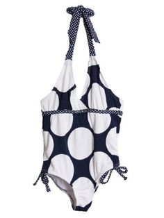 Pink Platinum Little Girls 1 Piece Navy White Polka Dot Halter Top Swimsuit ** Check out the image by visiting the link.