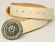 """Ladies Fossil Belt Embossed Ivory Leather with Rhinestone Buckle 31""""-35"""" #Fossil"""