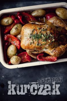 Chicken, red bell pepper and baby new potatoes roast