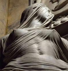 A marble sculpture by Antonio Corradini.