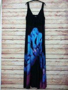 IGIGI Phyllis maxi dress size 26 / 28 floral black blue boho  #IGIGI #Maxi #Casual