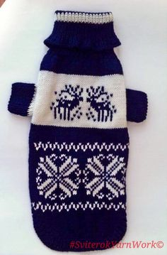 Deep Dark Blue Pattern Sweater For Big Dog.  Big Dog Sweater. Pattern Clothes for Dogs. Dog Clothes. Dress For Dog. Pet Clothing. Size 3XL by SviterokYarnWork on Etsy