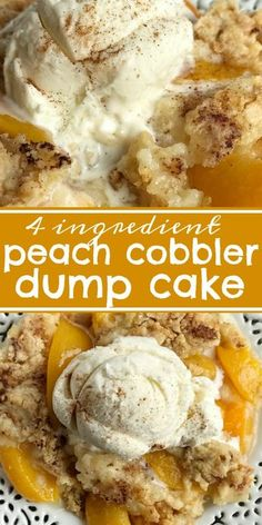 Peach Cobbler Dump Cake Cobbler Dump Cake Peach Desserts 4 Ingredients is all you need for this easy and delicious dessert Serve with vanilla ice cream for the best family dessert easydessertrecipes dessert dumpcake peaches Dessert Simple, Easy Peach Dessert, Dessert With Peaches, Dessert Healthy, Peach Dessert Recipe, Recipes With Peaches, Simple Dessert Recipes, Fresh Peach Recipes, Easy Desert Recipes