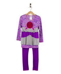 Another great find on #zulily! Purple Rosette Tunic & Leggings - Toddler & Girls #zulilyfinds