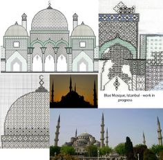 Mosque Inspiration and design! Liz Almond www.blackworkjourney.co.uk Blackwork Embroidery, Black Work, Cross Stitch Flowers, Mosque, Taj Mahal, Embroidery Designs, Almond, Architecture, Pictures