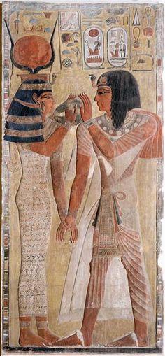 Tombe de SEthi Ier (vallée des rois), nouvel empire - La déesse Hathor remettant un collier Menat à Sethi Ier. Style ostentatoire raméside.