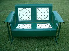 Grass Green And White Old Paint Shabby Chic Loveseat Metal Porch Glider....retrovintagepatio.com