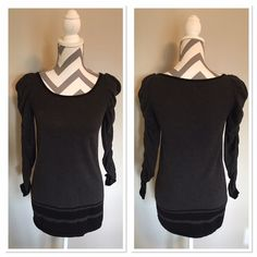 Sophie Max sweater 🎉HP🎉 Super cute sweater! Dark grey with black stripes around bottom. Sleeves are gathered all the way up! 26 in long. XS. Worn once! 60%cotton 40% rayon. 🎉Host Pick Best in Sweaters and Jackets @sijolie71🎉 Check out her great closet!! Sophie Max Sweaters