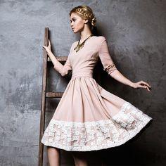'First Kiss' Ivory Laced Chiffon Dress by LATTORI (645 BAM) ❤ liked on Polyvore featuring lattori