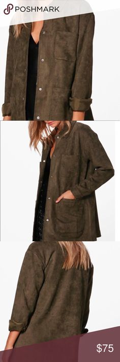 352be410e7 NEW Utility Jacket Coat Button Up Size 10 New! Wrap up in the faux suede