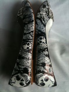 Skulls and Webs Horror Punk Flats Shoes UK by MissFiendishApparel, £26.00 - Size 10.5!!!