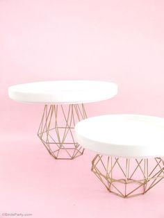 DIY Metallic Gold Geometric Cake Stand - http://BirdsParty.com