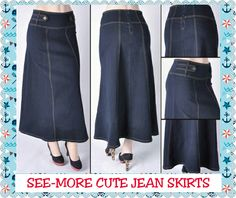 BETHANY BUTTON TAB WAIST LONG MODEST DENIM SKIRT · See-More Cute Jean Skirts · Online Store Powered by Storenvy