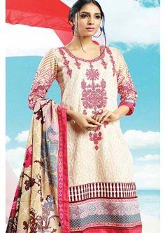 Cream, Pink Cotton Salwar Kameez, - £74.00, #SalwarKameez #FashionUK #DesignerSuit #Shopkund