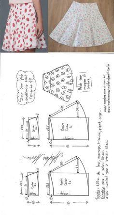 Sewing Skirts Saia evasê com pala anatômica Diy Clothes Patterns, Baby Dress Patterns, Skirt Patterns Sewing, Sewing Patterns Free, Sewing Clothes, Fashion Sewing, Diy Fashion, Costura Fashion, Baby Sewing