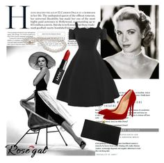 """Rosegal: Grace Kelly"" by kacenka-1 on Polyvore featuring GE, Christian Louboutin, NYX, Jimmy Choo and vintage"