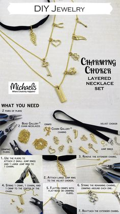 This DIY Charming Choker layered necklace set features our new #CharmGallery charms #madaewithmichaels