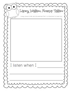 text-to-self writing activity to go with the book lacey walker nonstop talker.