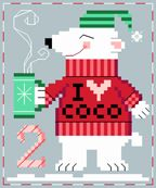 Peter Polar Bear, of 25 Advent Animals, designed by Brooke Nolan, from Brooke's Book Publishing. Cross Stitch Freebies, Cross Stitch Charts, Cross Stitch Patterns, Nordic Christmas, Christmas Cross, Cross Stitching, Cross Stitch Embroidery, Ancient Egyptian Art, Charts And Graphs