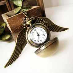 Antique Brass Polished Ball Usable Pocket Watch with Pair of Wings Pendant Necklace