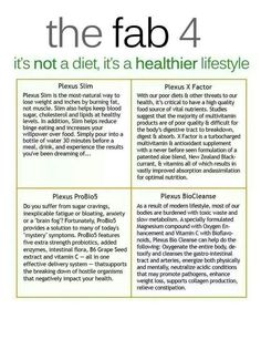 Plexus Fab 4!!! Want to feel the healthiest you've felt since your teenage years? Then order these 4 products! Contact me today for additional information! www.Plexusslim.com/jessiewscott #374678