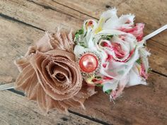 Shabby Chic Tan Whtie Rose Floral Flower Headband with Pearl Rhinestone Button Photo Prop by stephanieb77 on Etsy