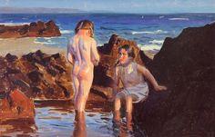 Benito Rebolledo .Ninas en la playa.