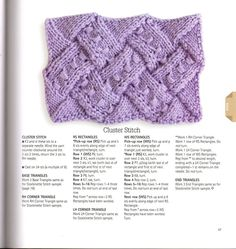 """Photo from album """"Entrelac"""" on Yandex. Knitting Stiches, Knitting Charts, Crochet Stitches, Hand Knitting, Knitting Patterns, Knit Crochet, Crochet Patterns, Fabric Yarn, How To Purl Knit"""